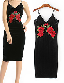 Elagnet Black+red Embroidery Decorated V-neckline Dress