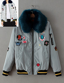 Fashion Gray Fur Collar Decorated Jacket