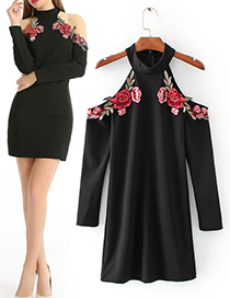 Vintage Black Embroidery Decorated Off-shoulder Dress