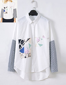 Fashion White Geometric Shape Pattern Decorated Shirt