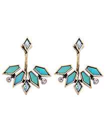 Elegant Blue Polygon Shape Decorated Earrings