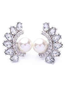 Elegant White Fan Shape Decorated Earrings