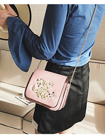 Elegant Pink Embroidery Flower Shape Decorated Shoulder Bag
