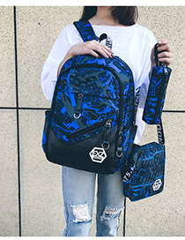 Fashion Blue Color-matching Decorated Backpack (3pcs)