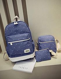 Fashion Light Blue Dot Shape Decorated Backpack (3pcs)