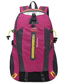 Fashion Plum-red Letter Shape Decorated Backpack