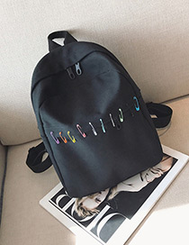 Lovely Black Pin Shape Decorated Backpack