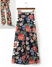 Fashion Multi-color Flower Pattern Decorated Wide-leg Trousers