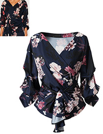 Vintage Multi-color Flower Pattern Shape V-neckline Blouse