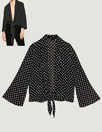 Fashion Black Dot Shape Decorated Blouse