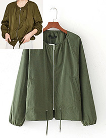 Fashion Green Pure Color Decorated Round-neckline Jacket