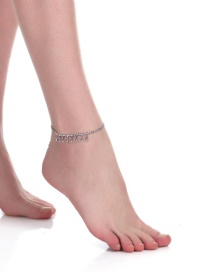 Fashion Silver Color Little Bell Pendant Decorated Anklet