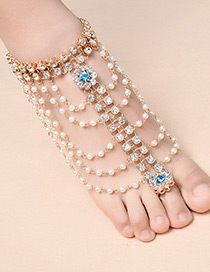 Elegant Gold Color Flower Shape Decorated Anklet