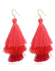 Bohemia Red Color-matching Decorated Tassel Earrings