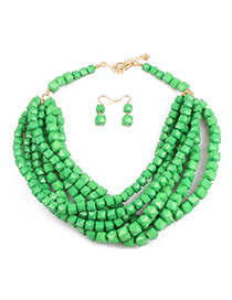 Bohemia Green Square Shape Decorated Jewelry Sets