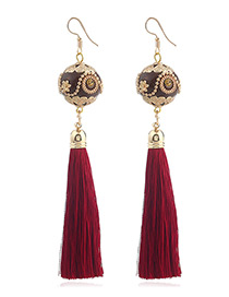 Vintage Red Ball Shape Decorated Earrings