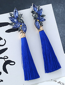 Fashion Blue Tassel Decorated Earrings