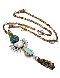 Fashion Antique Gold Tassel Decorated Simple Necklace