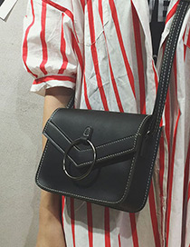 Fashion Black Circular Ring Decorated Shoulder Bag