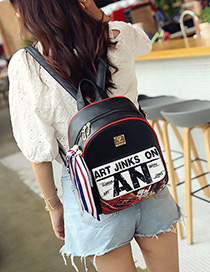Fashion Black Letter Pattern Decorated Simple Backpack