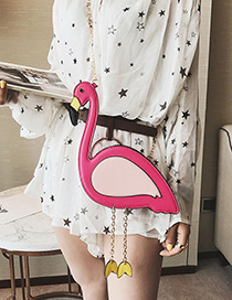 Fashion Plum Red Flamingo Shape Decorated Mini Shoulder Bag