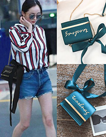 Fashion Blue Letter Pattern Decorated Square Shape Shoulder Bag