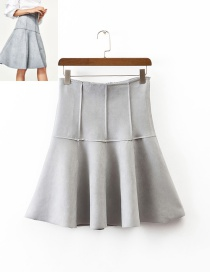 Fashion Gray Pure Color Decorated High Waist Skirt