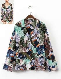 Fashion Multi-color Birds&flower Decorated Long Sleeves Shirt