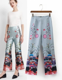 Fashion Multi-color Trees&flower Pattern Decorated Ultra-wide-leg Trousers