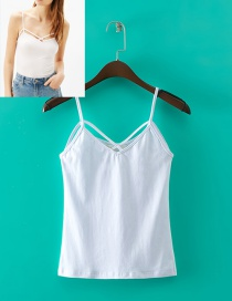 Trendy White Pure Color Decorated Simple Suspender Vest