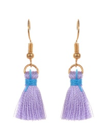 Fashion Light Purple Tassel Decorated Pure Color Earrings