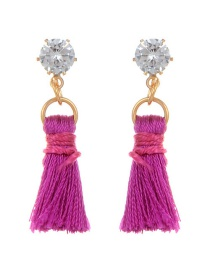 Fashion Purple Diamond&tassel Decorated Pure Color Earrings