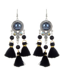 Fashion Black Tassel Decorated Pure Color Earrings
