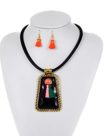 Fashion Black Tassel Decorated Geometric Shape Jewelry Sets