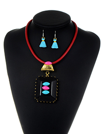 Exaggerate Red Square Shape Decorated Tassel Jewelry Sets