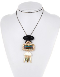 Personality Multicolor Square Shape Decorated Long Necklace