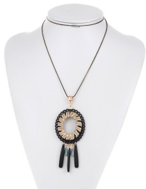 Fashion Black Tassel Decorated Long Necklace
