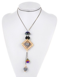 Fashion Multicolor Square Shape Decorated Long Necklace