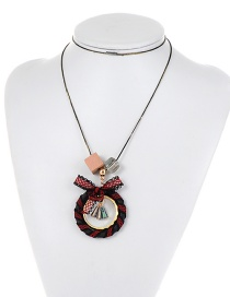 Fashion Red Round Shape Decorated Long Necklace