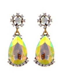 Elegant Champagne Waterdrop Shape Diamond Decorated Earrings