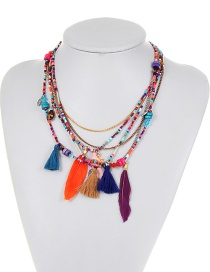 Bohemia Multicolor Feather Shape Decorated Multilayer Necklace