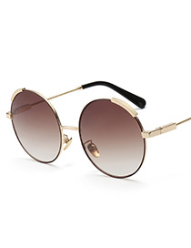 Fashion Champagne Round Shape Decorated Sunglasses