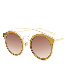 Vintage Champagne Wing Shape Decorated Sunglasses