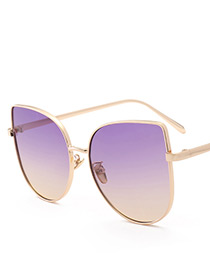 Fashion Purple Oval Shape Decorated Sunglasses