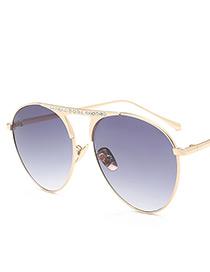 Fashion Gray Diamond Decorated Sunglasses