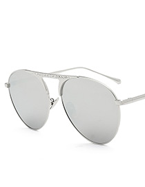 Fashion Gray Diamond Decorated Sunglasses