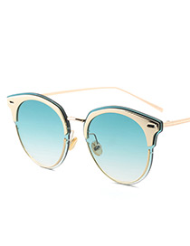 Vintage Gold Color+blue Color-matching Decorated Swing Shape Sunglasses