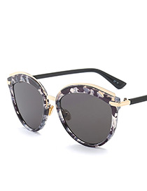 Vintage Black+white Color-matching Decorated Sunglasses