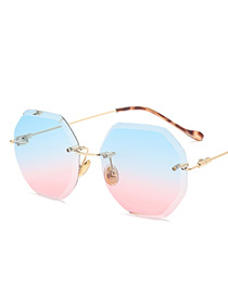 Vintage Blue+pink Metal Frame Decorated Round Sunglasses