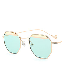 Vintage Green Color-matching Decorated Sunglasses